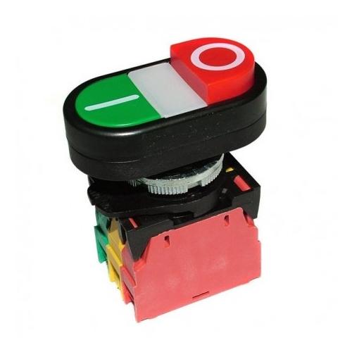 RO-Pulsador montaje ø 22mm rojo/verde 400V 4A 0-I empalme atornillado