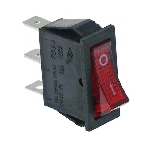 RO-Interruptor Rojo Unipolar 230V 16A 30x11mm