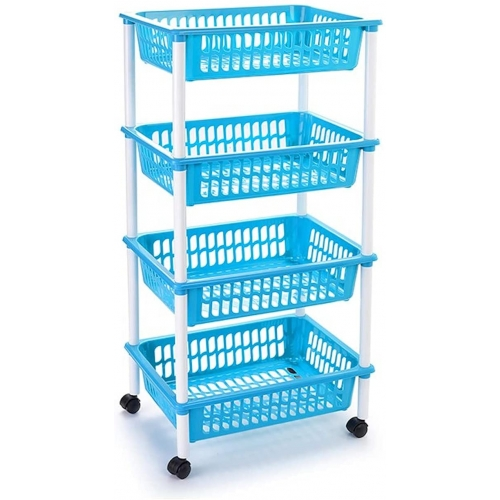Carro verdulero azul claro con ruedas 4 cestas 85 x 40 x 30 cm . Carrito portaobjetos estantes multiusos