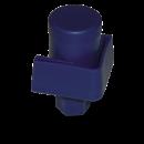 RO-Contera de plástico azul c/regulador para soporte de estantería de 40x40x2 mm.